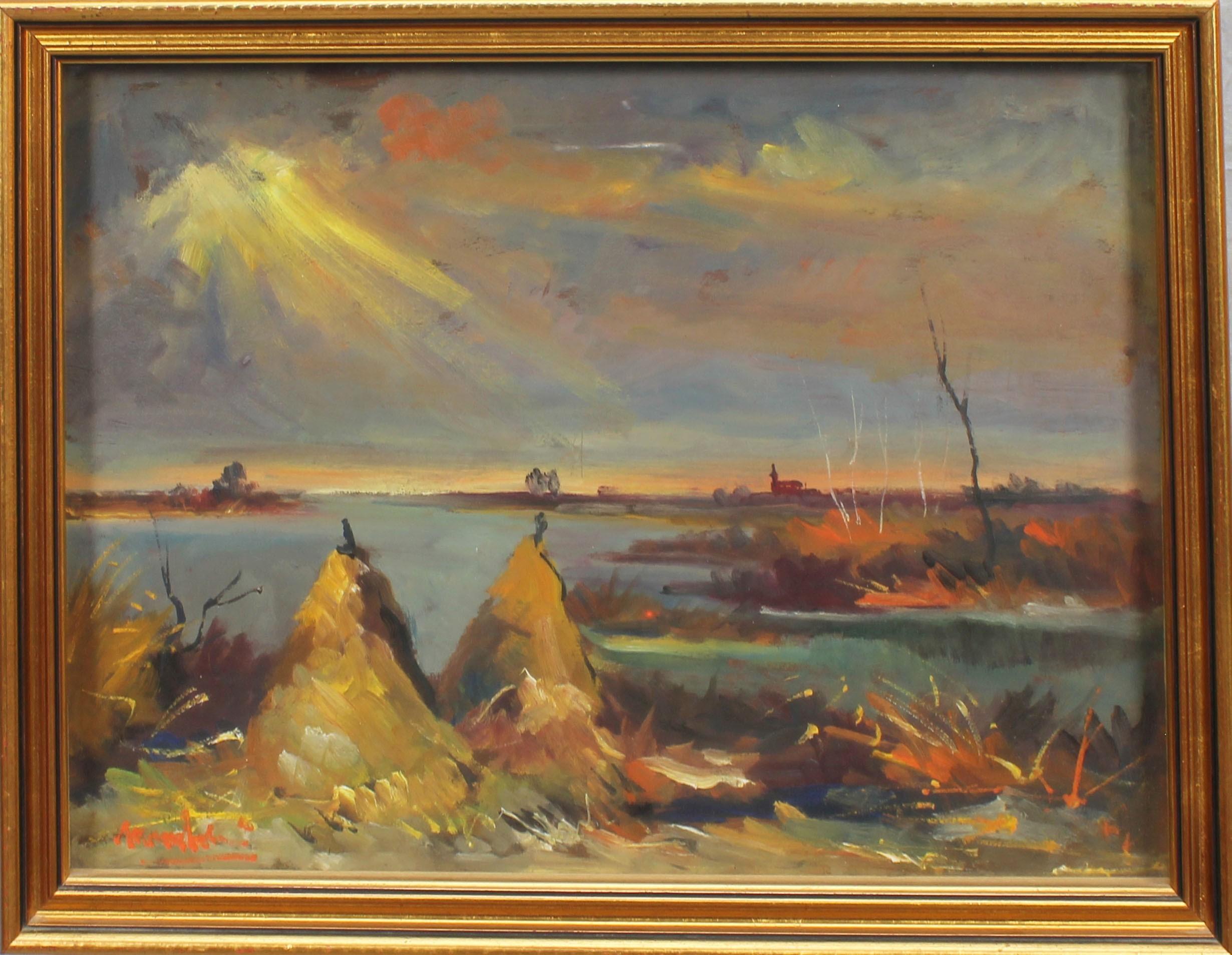 Lot 56 - Covoni con lago, a firma Maccabruni 1972, olio su cartone, cm. 41x29