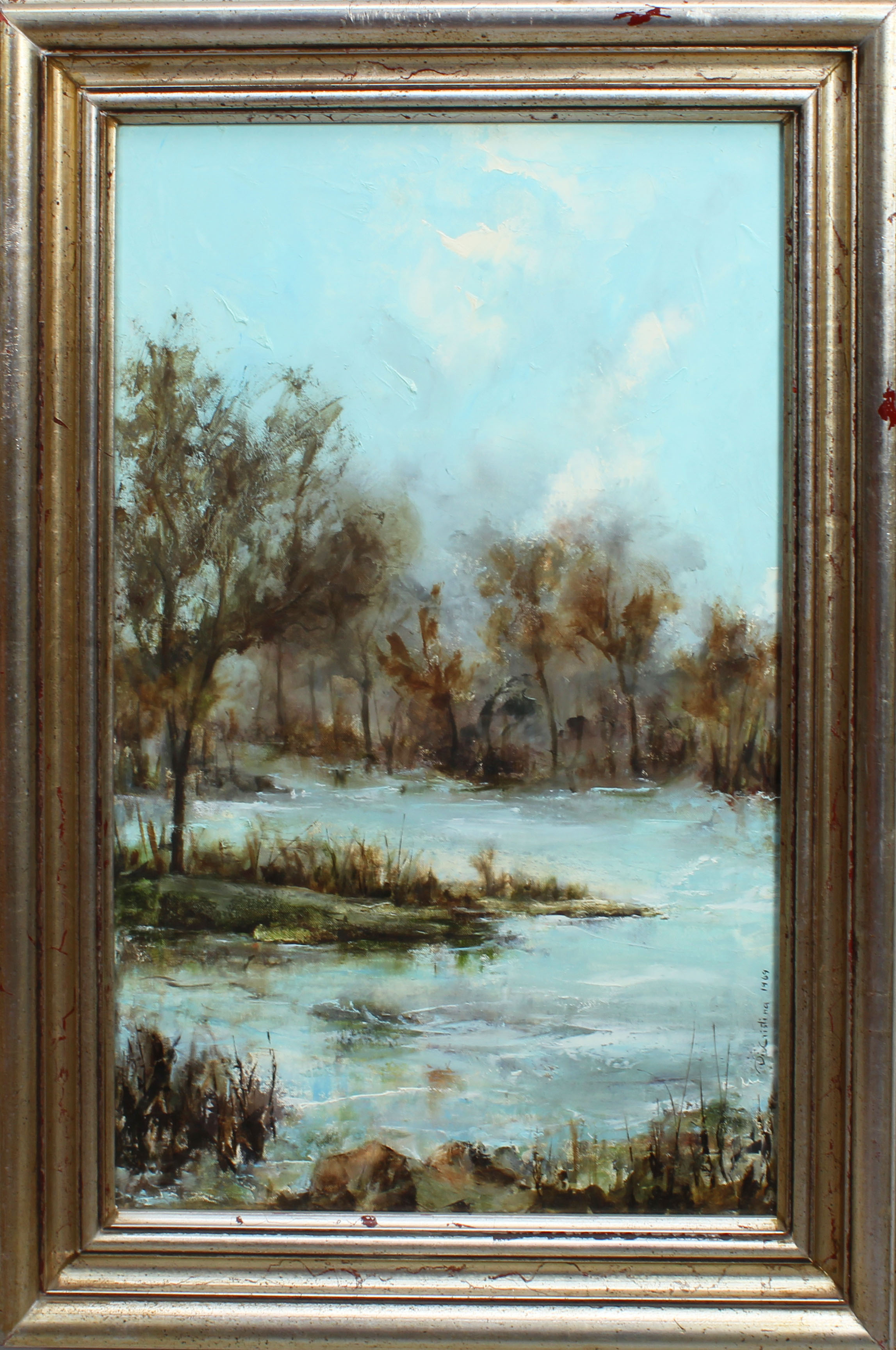 Lot 37A - Scorcio di lago, a firma Di Cristina, olio, cm. 40x60