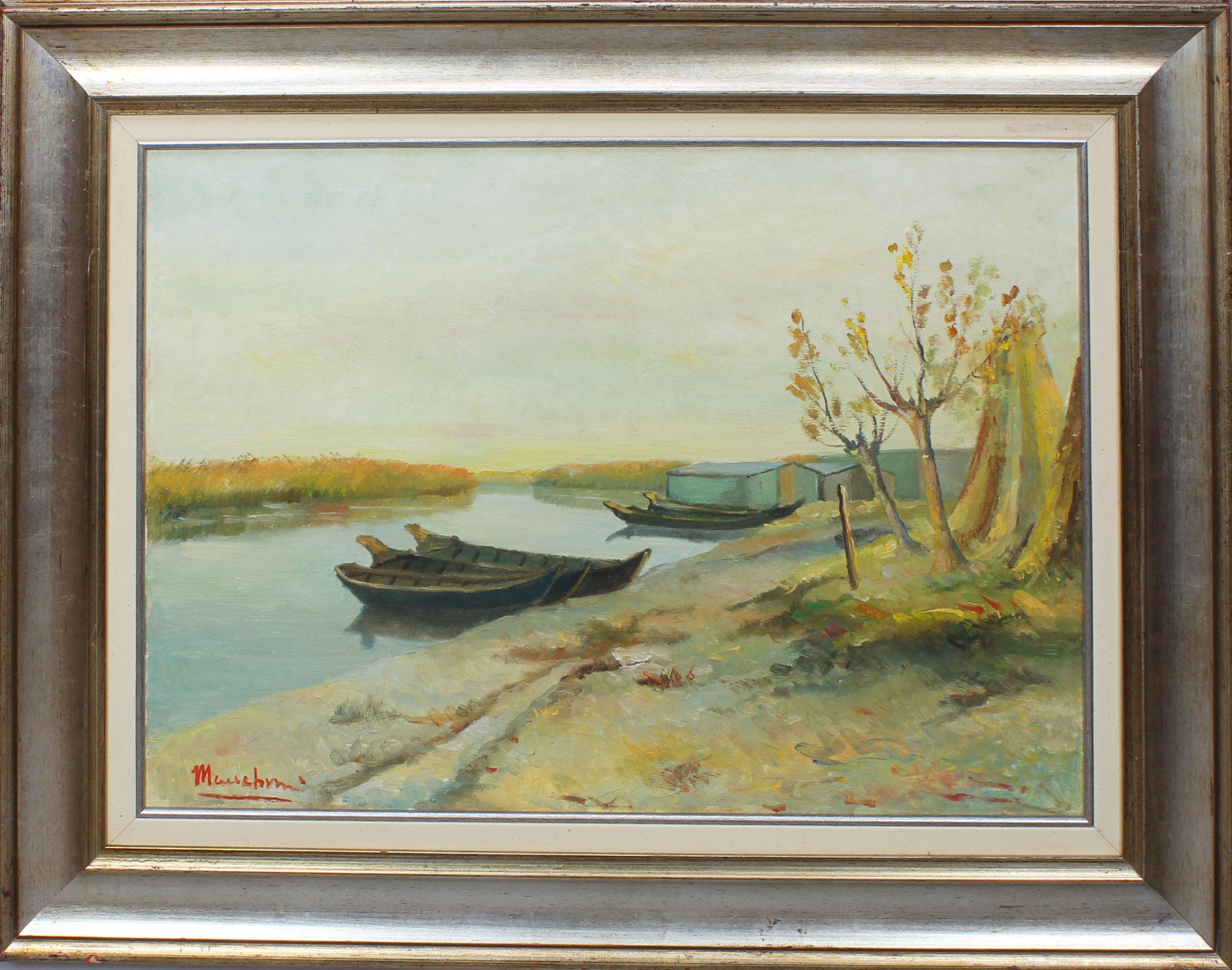 Lot 26 - Barche sul lago di Mantova, a firma Maccabruni, olio su tela, cm. 70x50