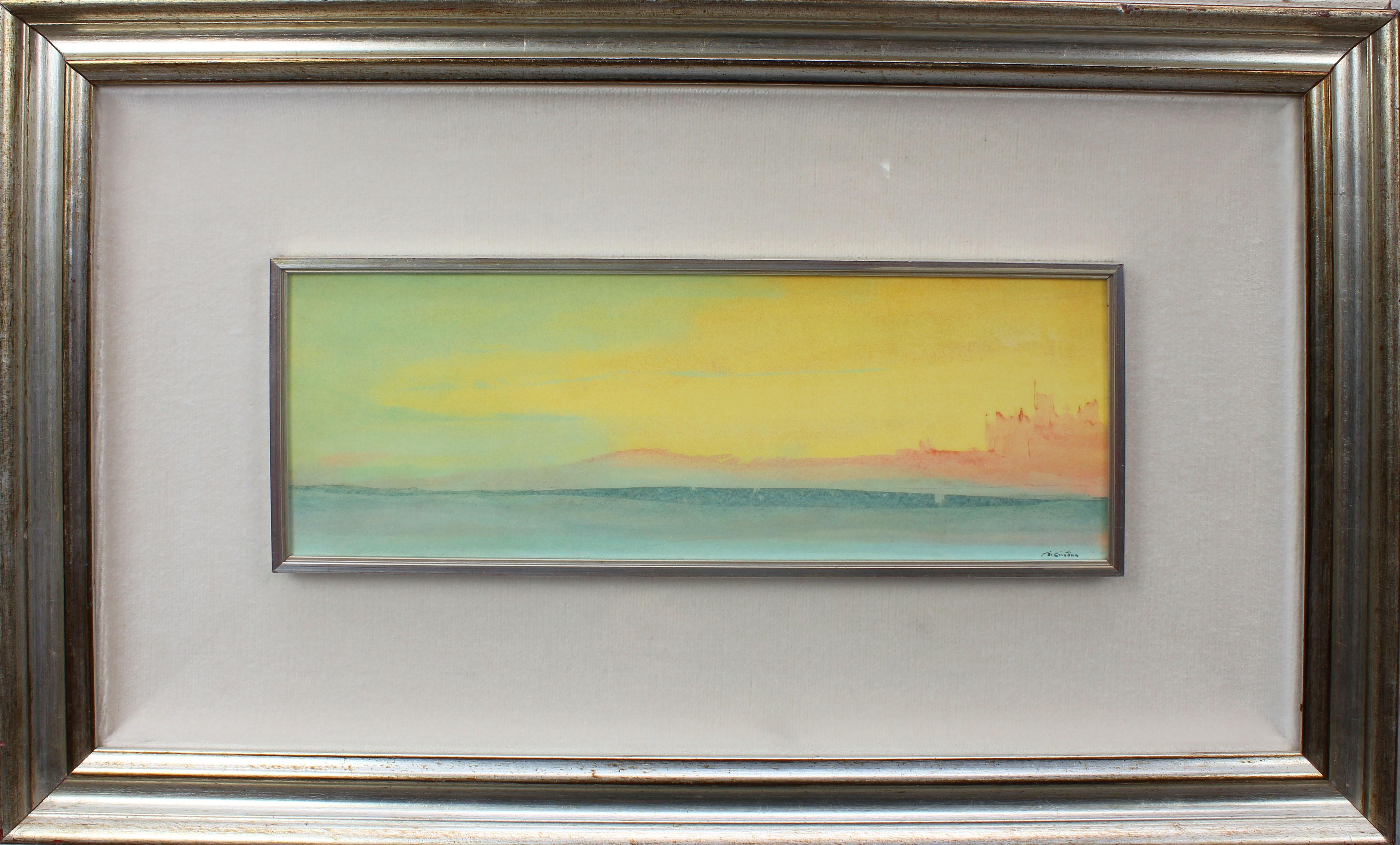 Lot 30 - Paesaggio, a firma Di Cristina, tecnica mista, cm. 35x17