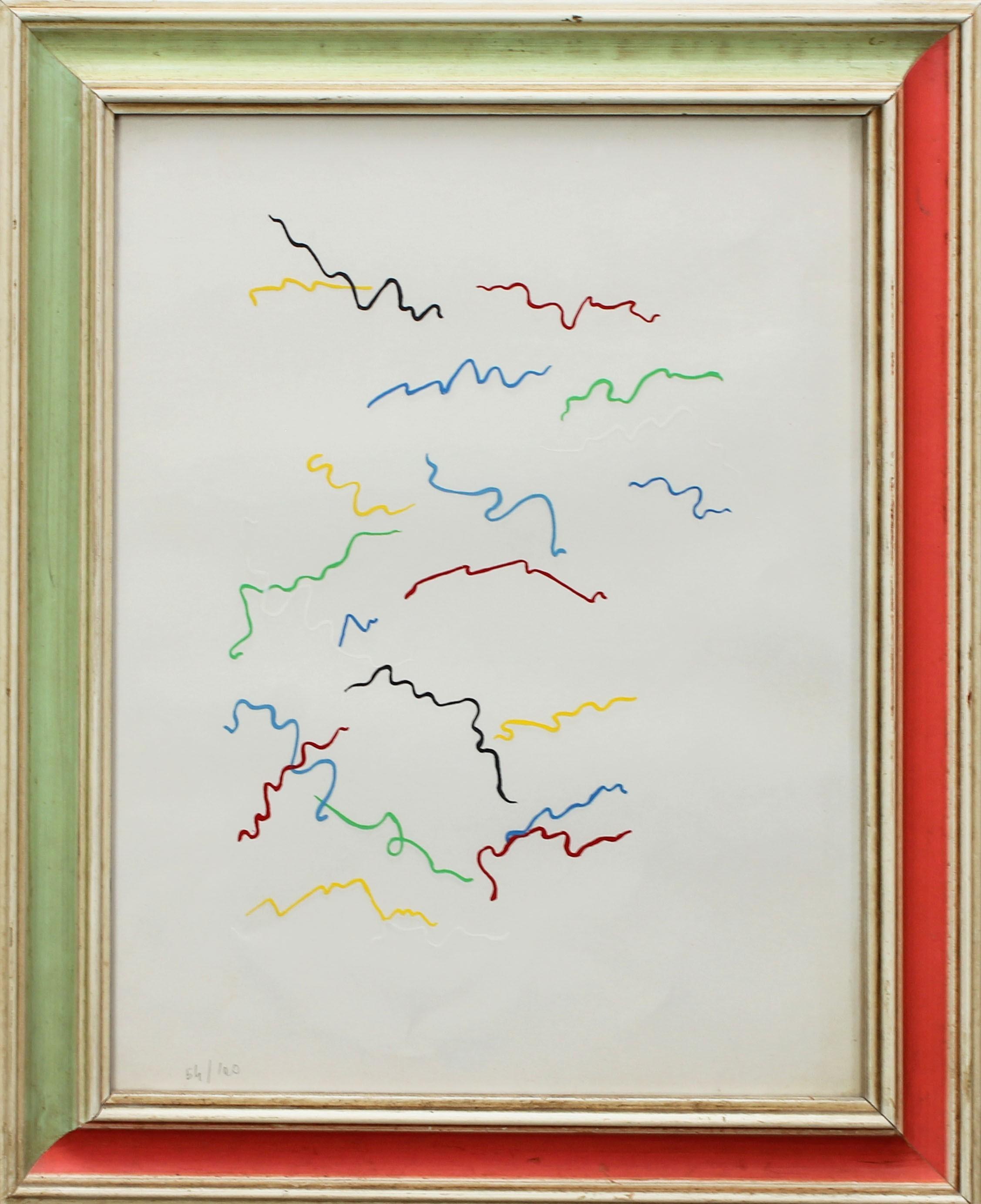 Lot 21 - Astratto, grafica 64/100, nel retro la scritta Bruno Sanguanini 1970, cm. 25x30