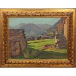 Paesaggi montani, a firma G. Tirovano olio su compensato, primi '900 cm. 40x30