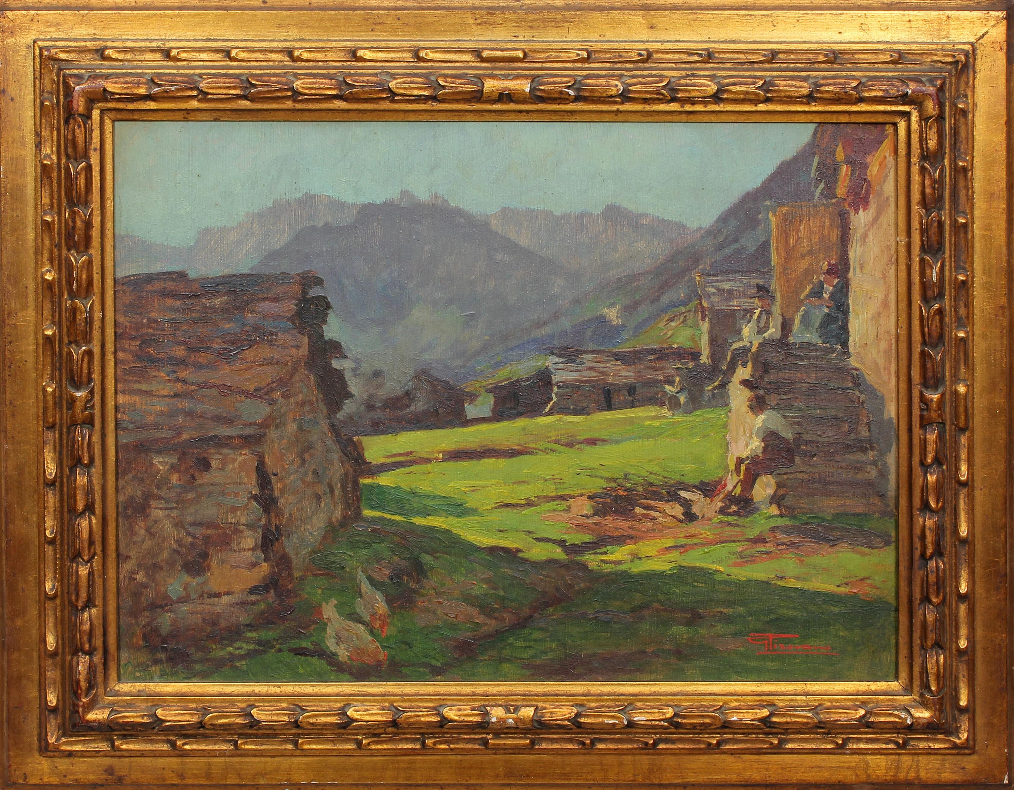 Lot 39 - Paesaggi montani, a firma G. Tirovano olio su compensato, primi '900 cm. 40x30