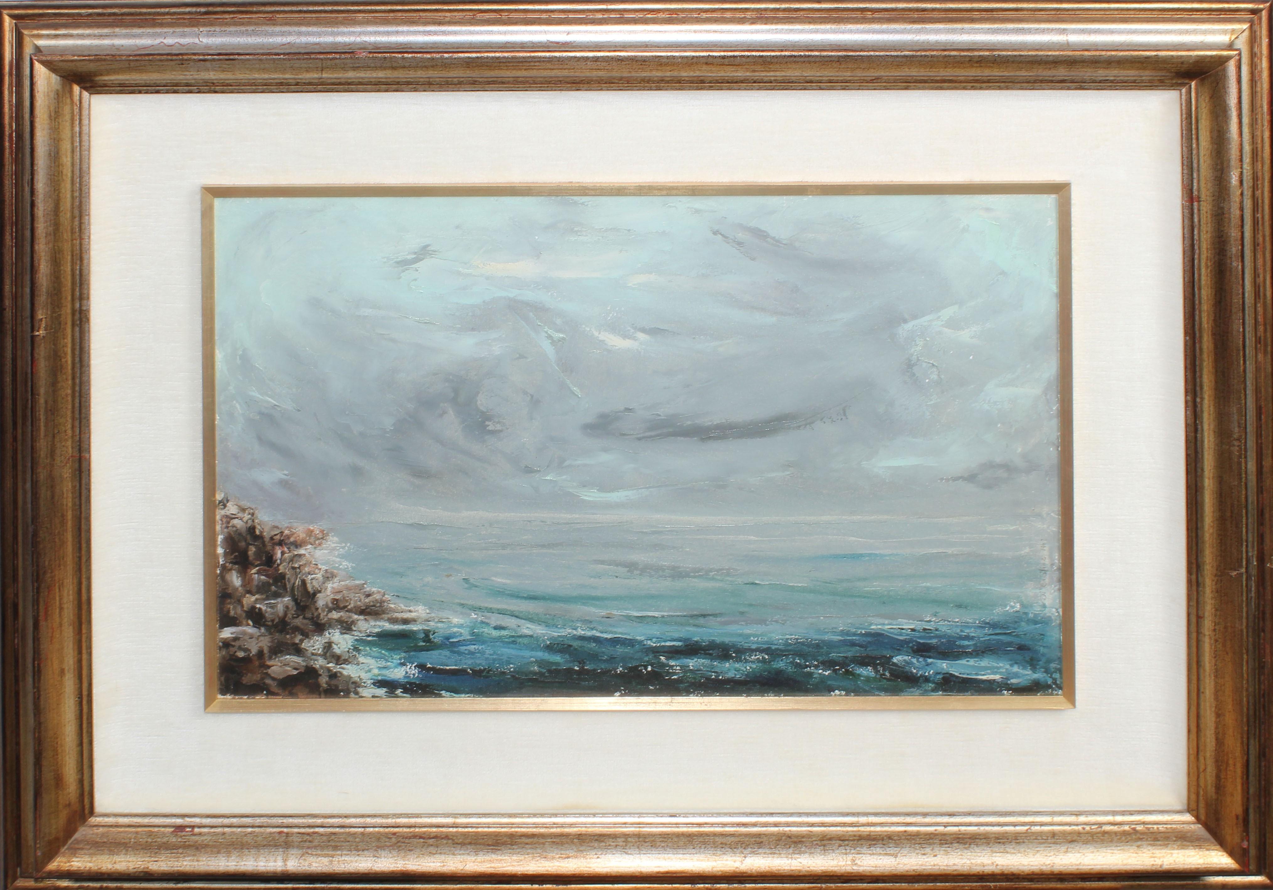 Lot 37 - Paesaggio marino, a firma Di Cristina 1967, olio su tela, cm. 58x38