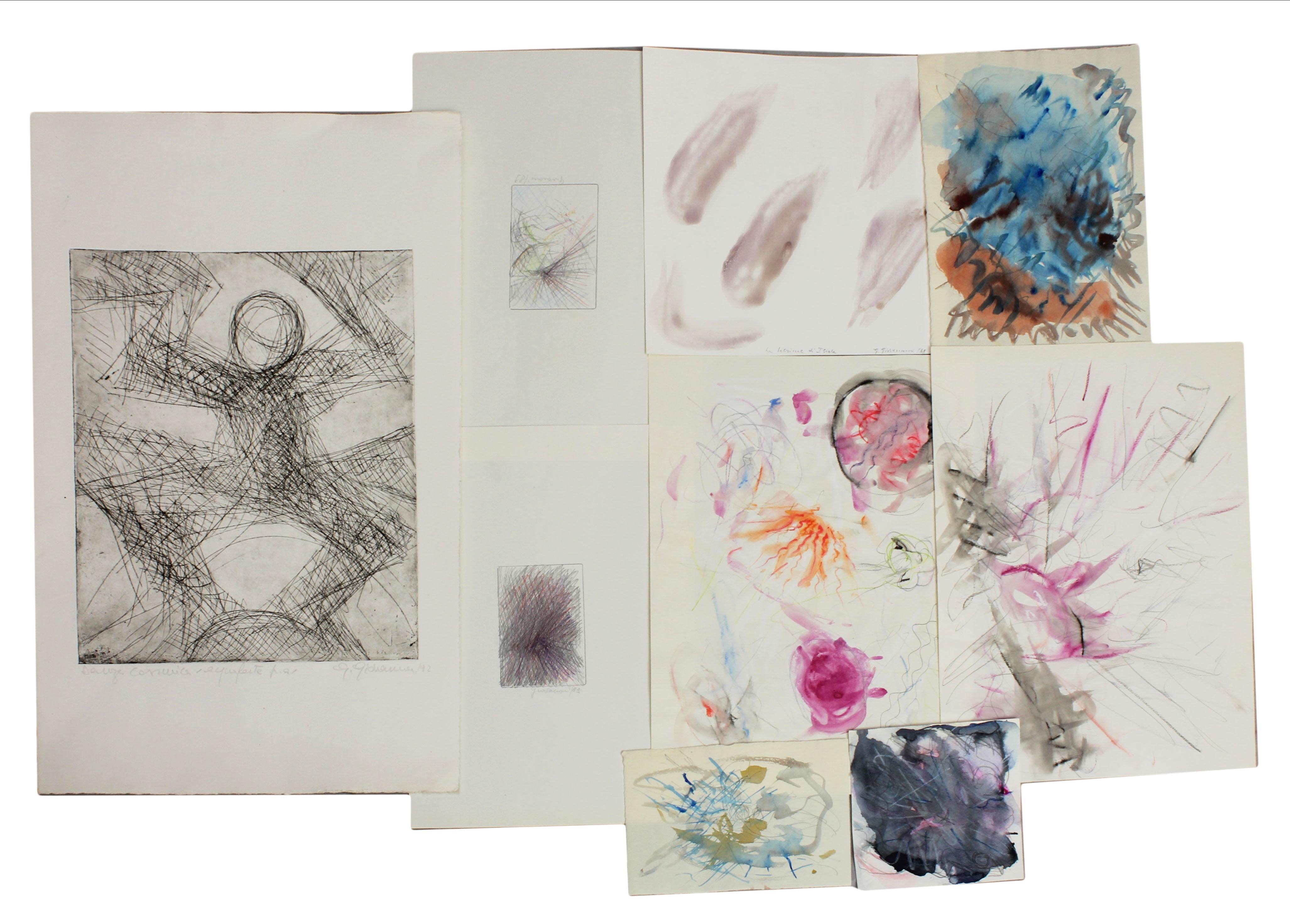 Lot 2 - Cartella contenente 6 disegni astratti del 1988, n.2 grafiche fasci di luce Giovannoni 1989 e una