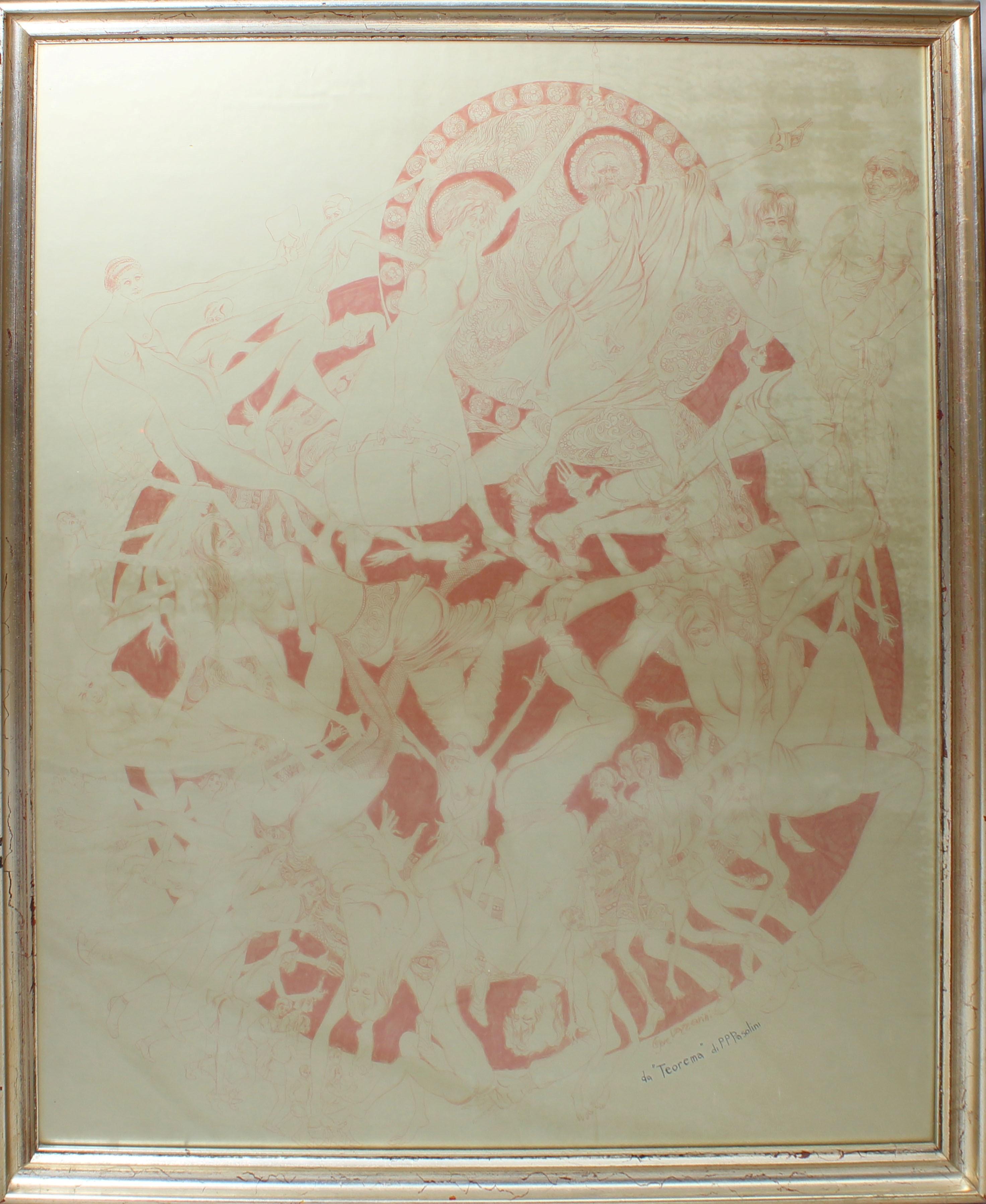Lot 8 - Dal teorema di P.P. Pasolini grafica a firma Lazzarini cm. 80x100