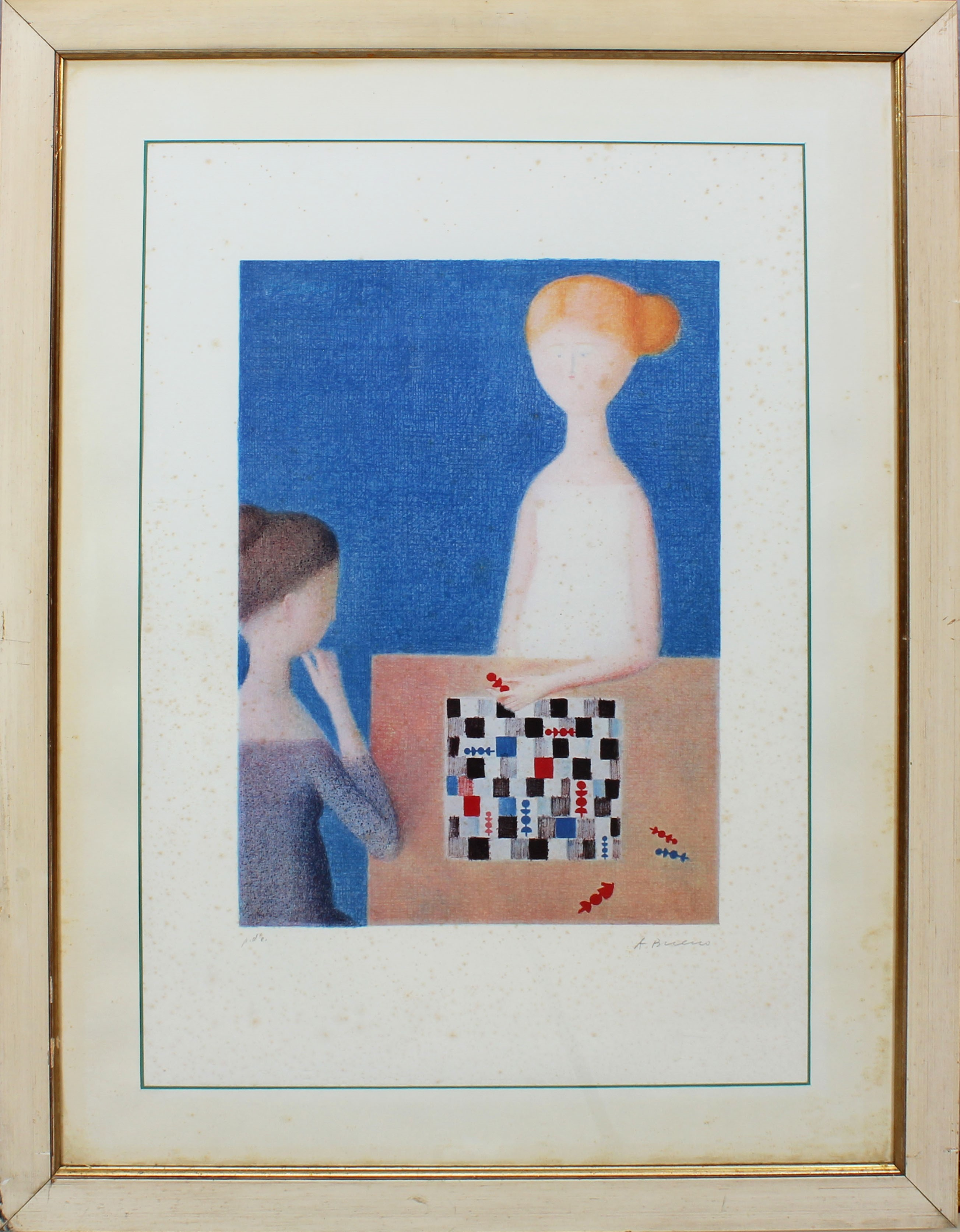 Lot 11 - Gioco degli scacchi, grafica, P.d.A., firmata A. Bueno, cm. 46x65