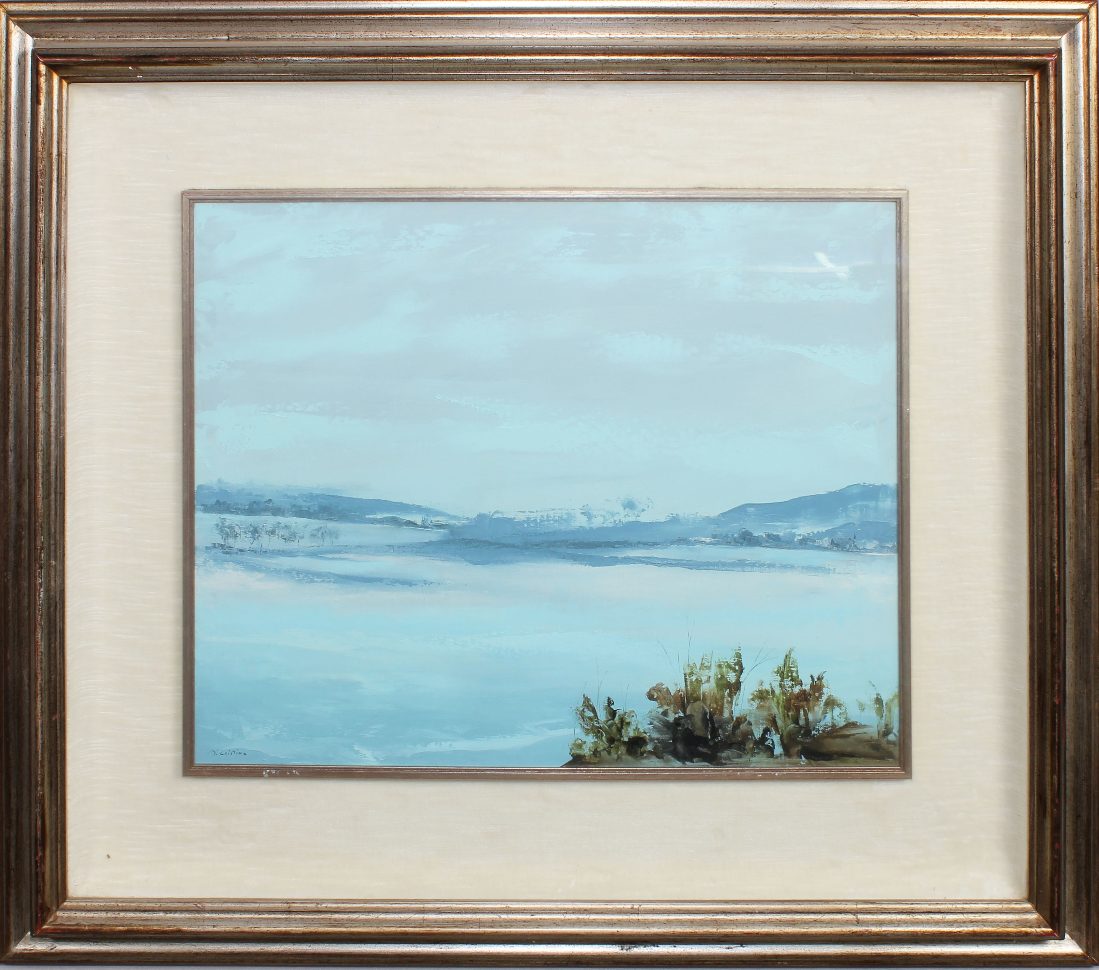 Lot 36 - Lago con colline, a firma Di Cristina, olio, cm. 48x38