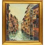 Scorcio di Mantova, a firma Ghidini, olio su tela, cm. 48x58