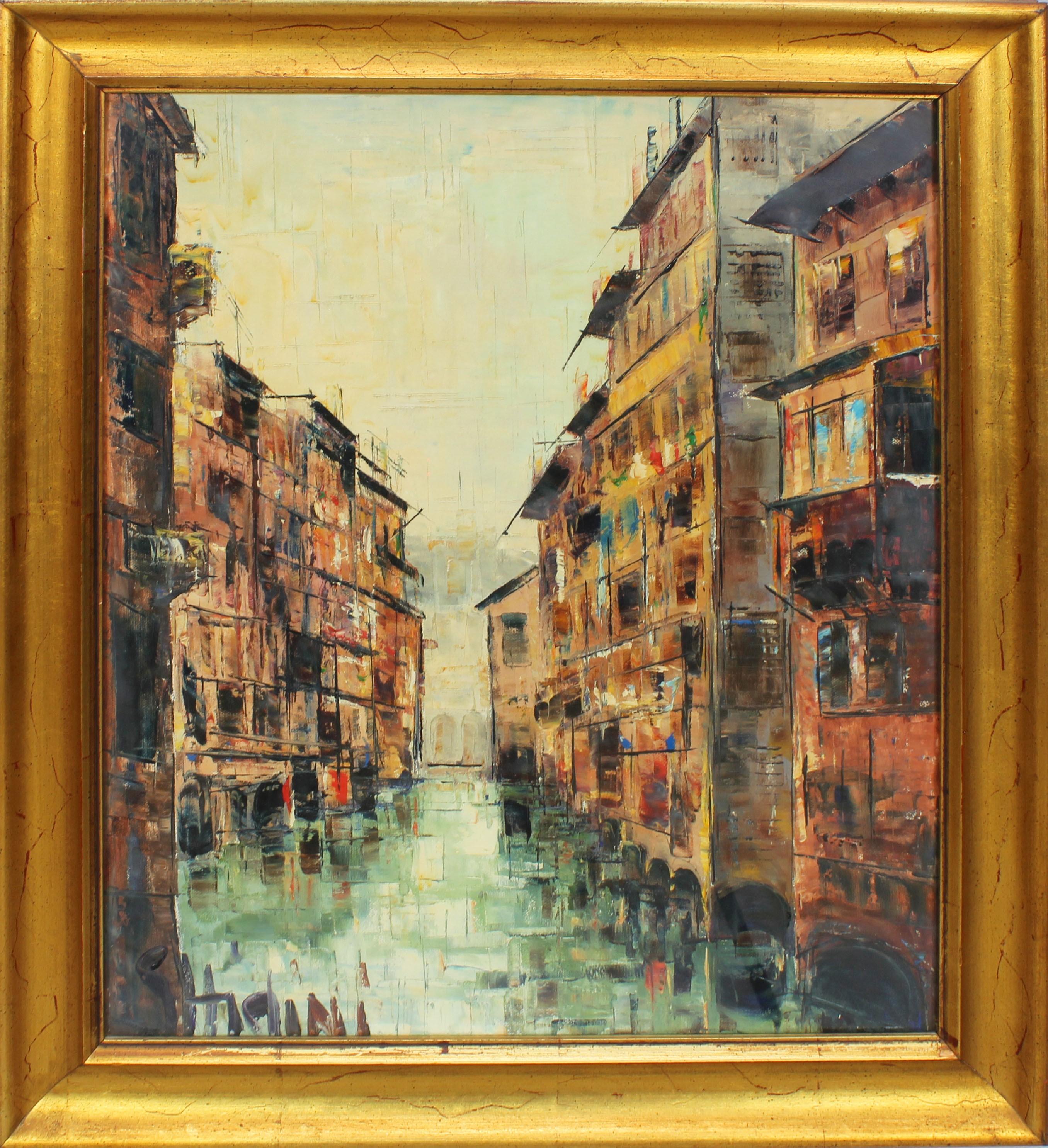 Lot 50 - Scorcio di Mantova, a firma Ghidini, olio su tela, cm. 48x58