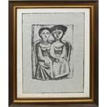 Due donne, grafica su carta, firmata Campigli 52, 23/125, cm. 48x63