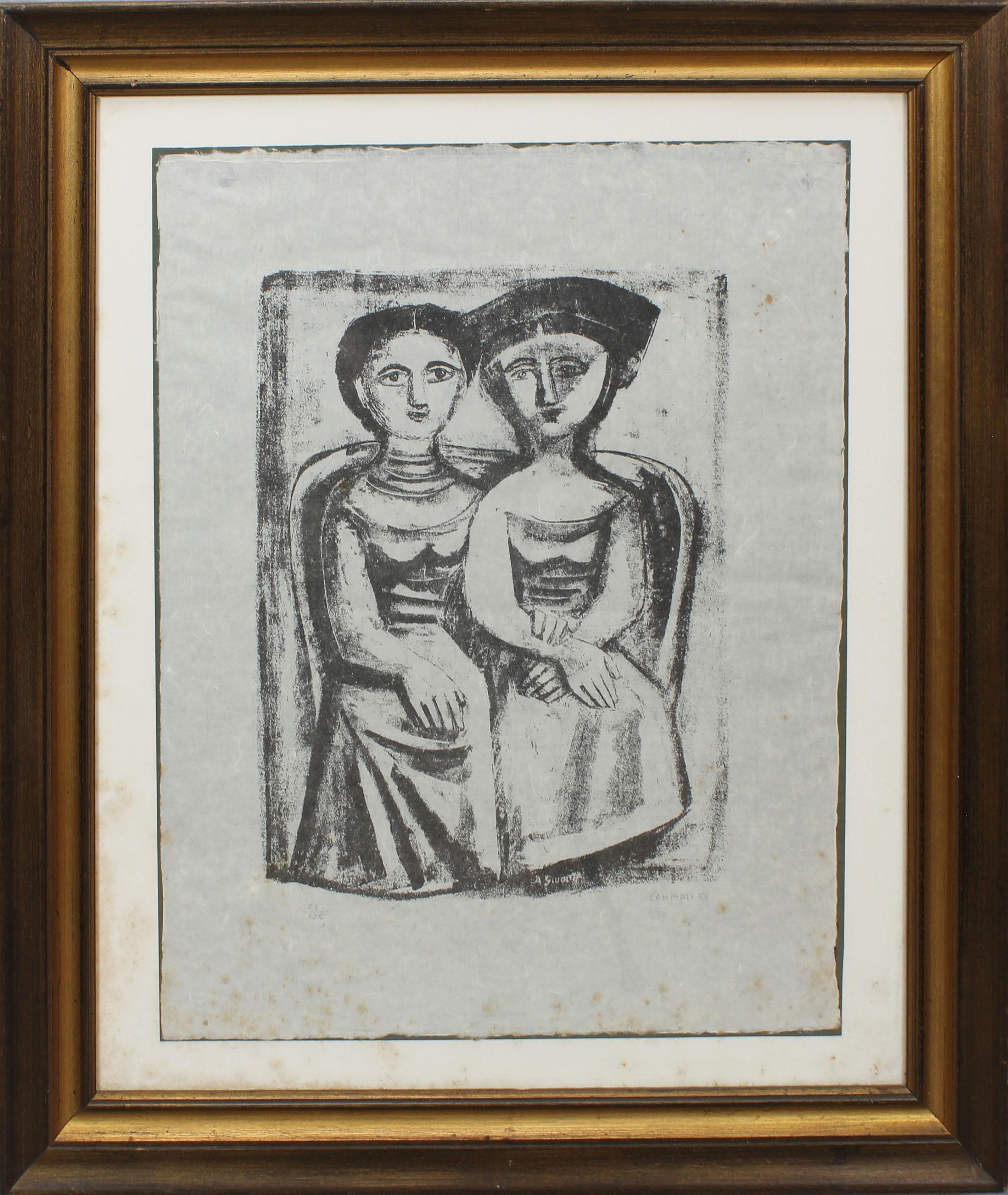 Lot 14 - Due donne, grafica su carta, firmata Campigli 52, 23/125, cm. 48x63