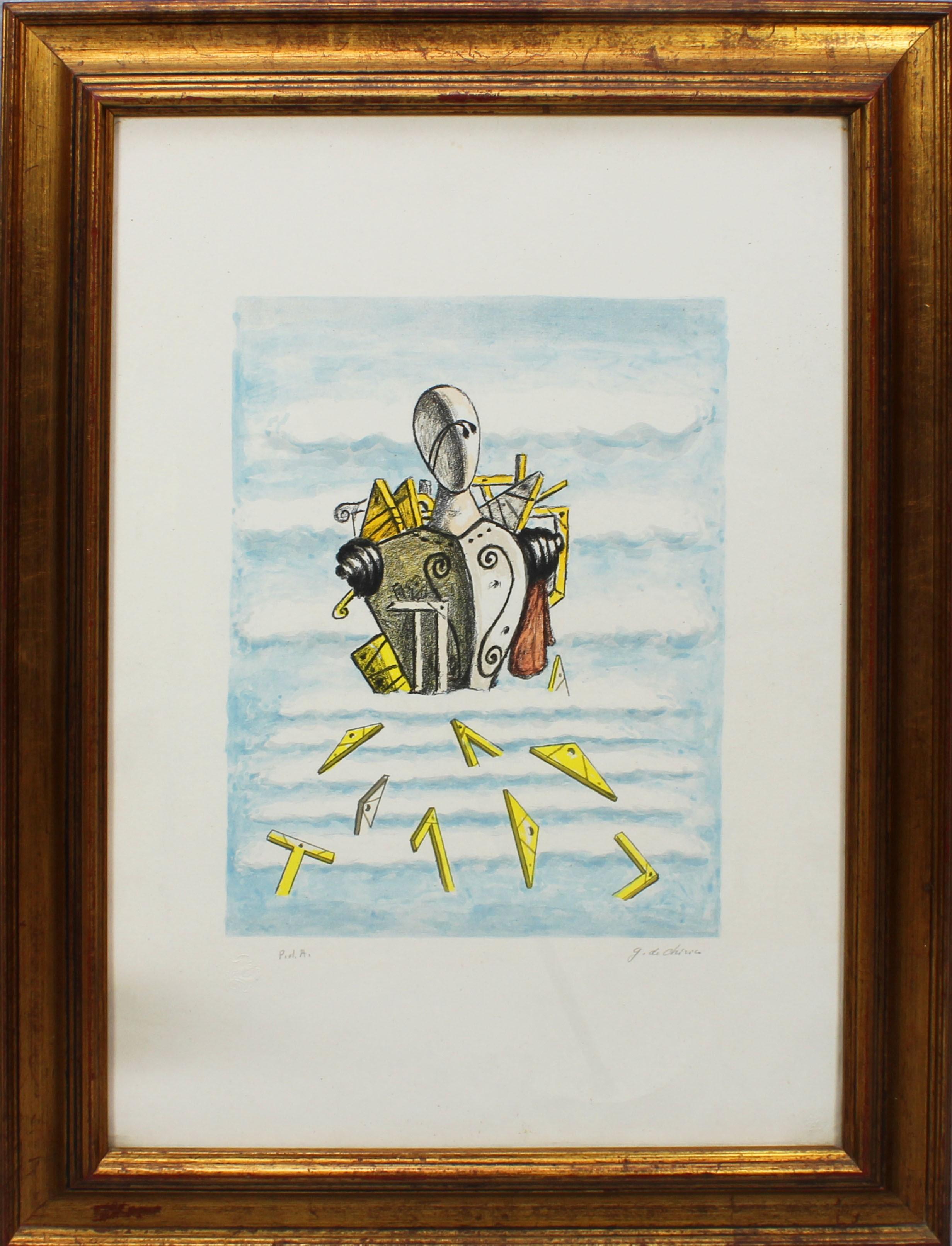 Lot 15 - Il trovatore, grafica firmata G. de Chirico, P.d.A., cm. 50x70