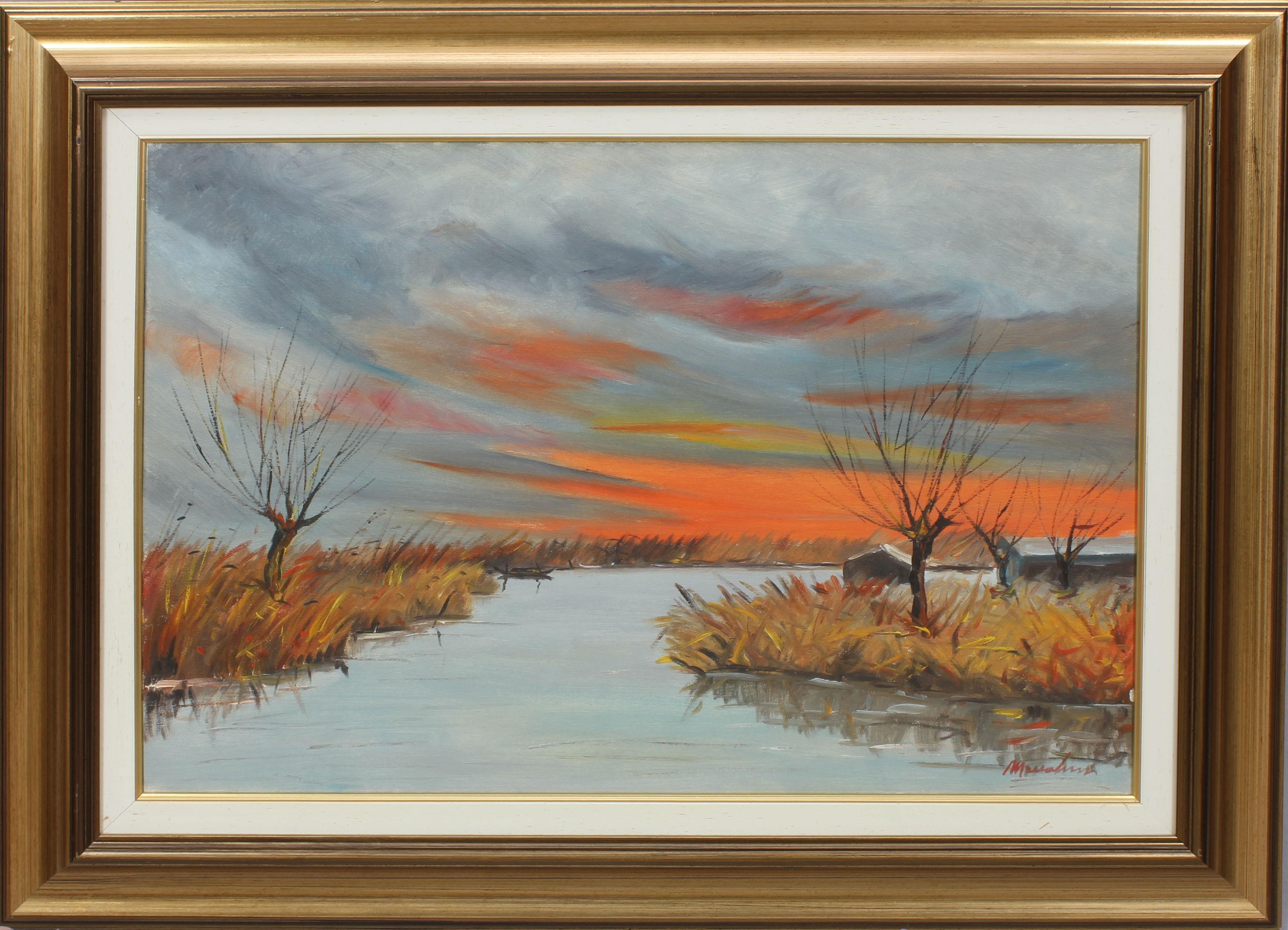 Lot 48 - Tramonto sul lago, olio su tela, a firma Maccabruni 1972, cm. 68x48