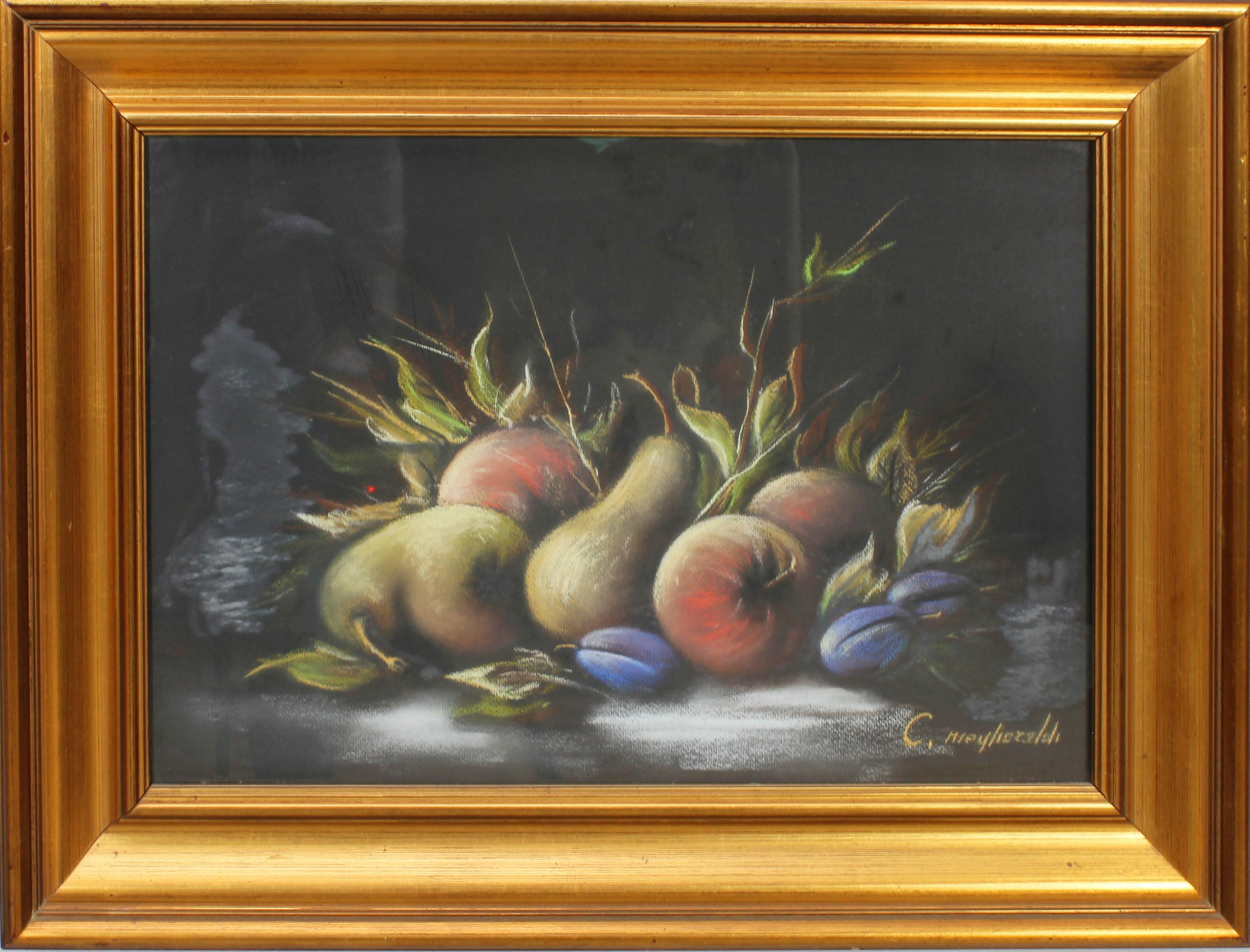 Lot 43 - Natura morta con frutta a firma C. Mieglioraldi?, tecnica mista, cm. 46x32