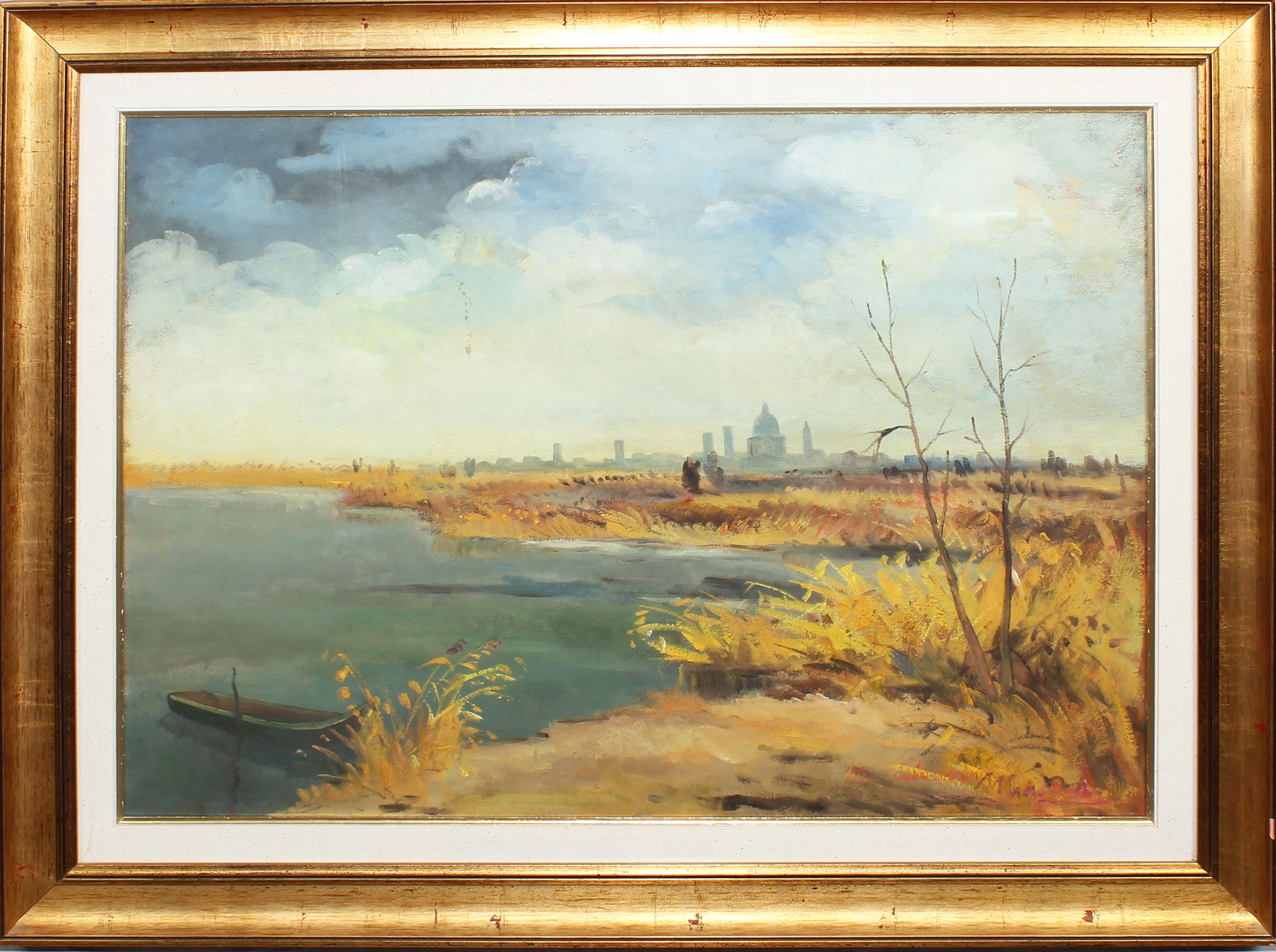 Lot 38 - Veduta di Mantova, a firma Ugo Maccabruni 1975, olio su tela, cm. 78x58