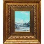 Paesaggio montano, a firma Di Cristina, cm. 14x20