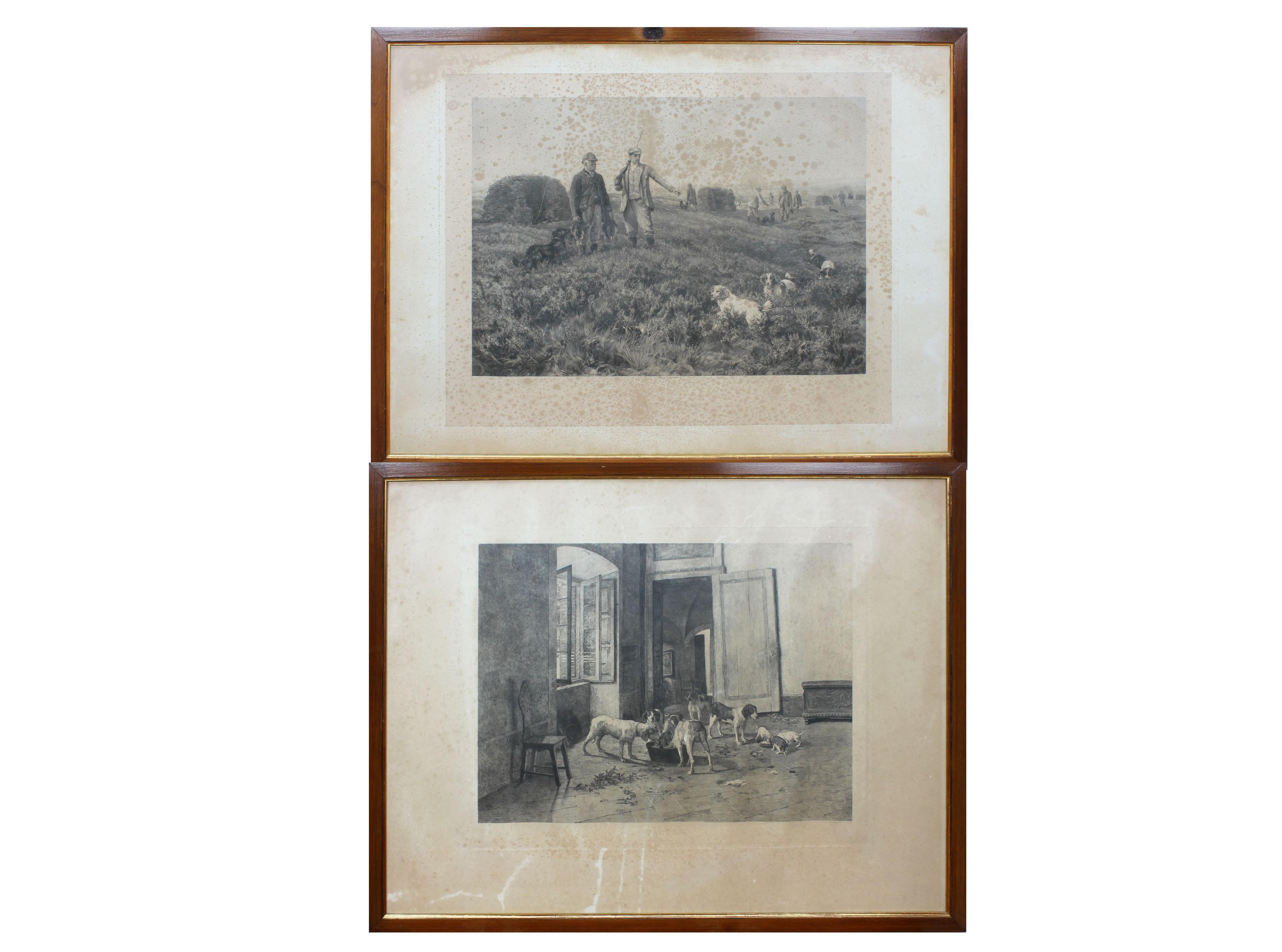 Lot 23 - Scena di caccia e scena con cani, due antiche stampe, cm. 46x64 circa