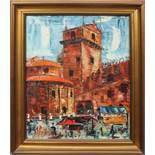 Piazza Erbe e la rotonda di San Lorenzo, Mantova, a firma Ghidini, olio su tela, cm. 38x48