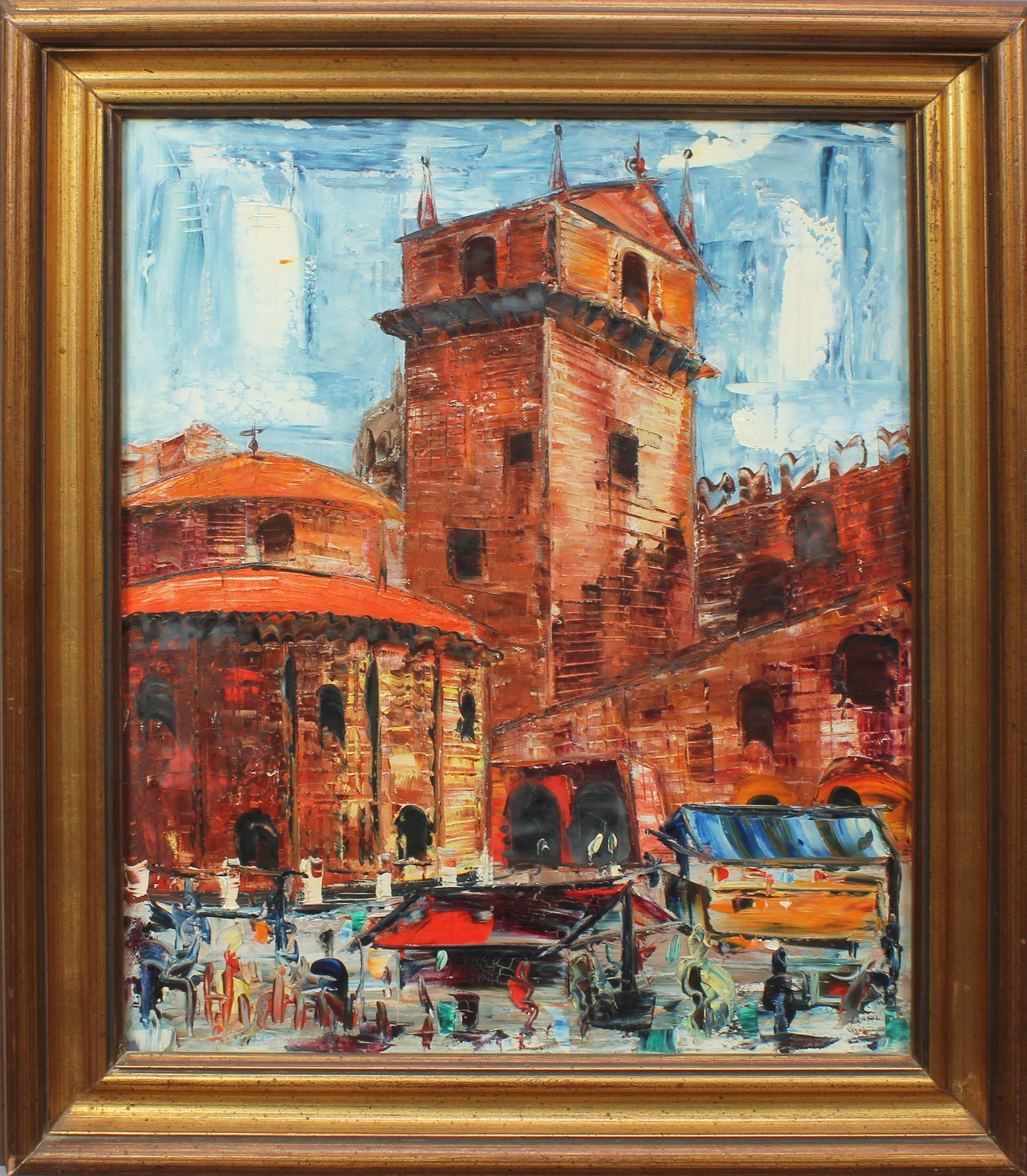 Lot 31 - Piazza Erbe e la rotonda di San Lorenzo, Mantova, a firma Ghidini, olio su tela, cm. 38x48