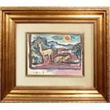 Animali nel bosco, a firma Stefanini, olio, cm. 33x23