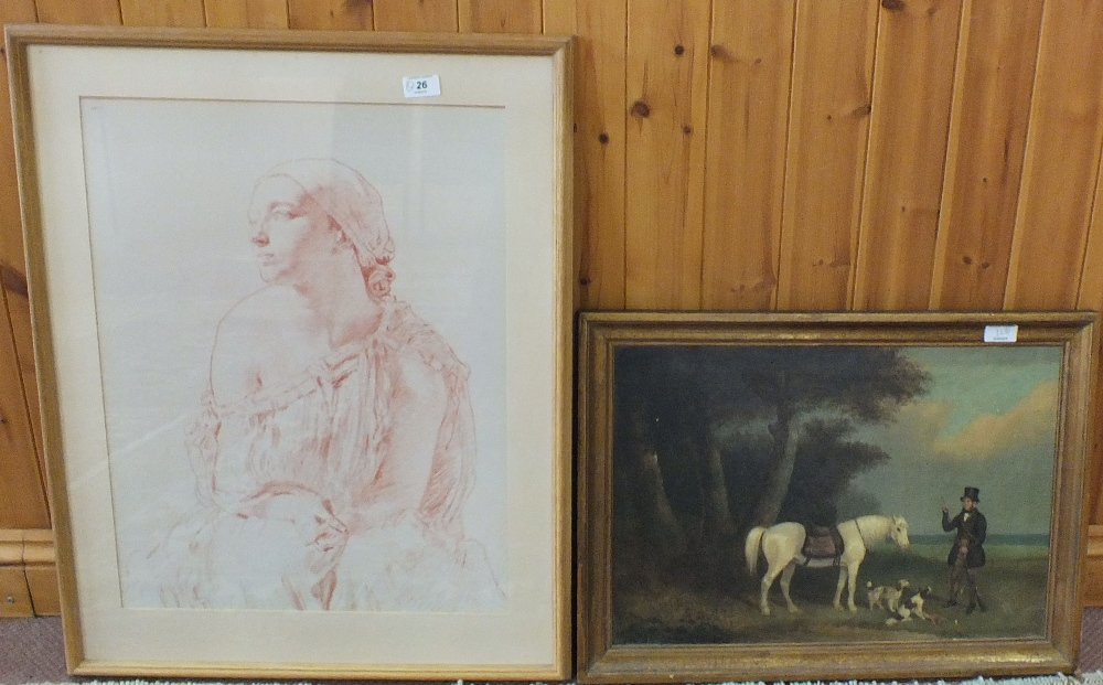 Lot 26 - An old master style print plus an equestrian scene oleograph