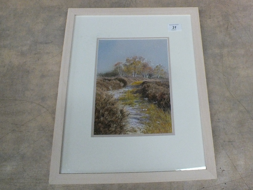 Lot 31 - Jill Draper, silk embroidery of a river and woodland scene,