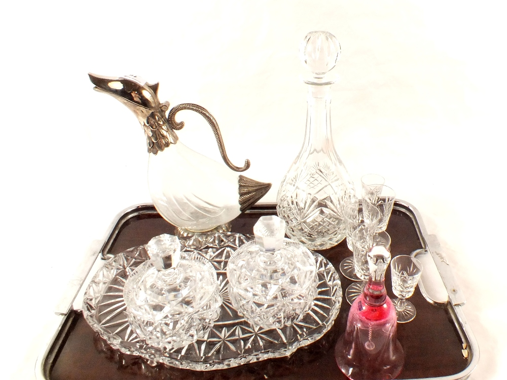 Lot 16 - A silver plated and glass bird head claret jug,