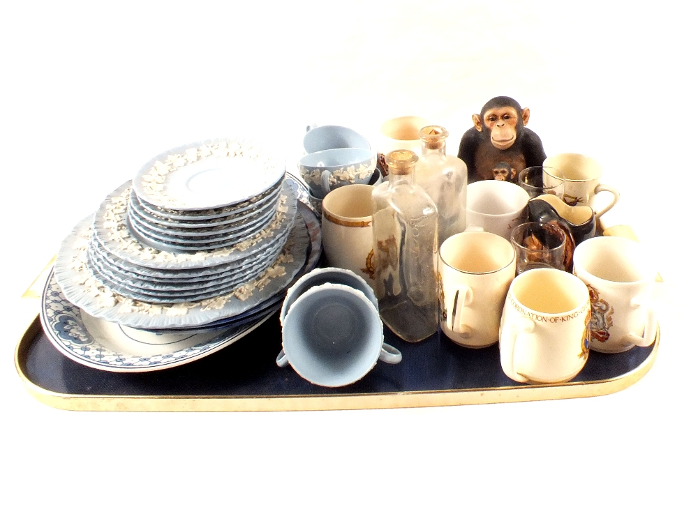 Lot 15 - A Wedgwood embossed Queens ware part tea set plus Coronation and other china and glass