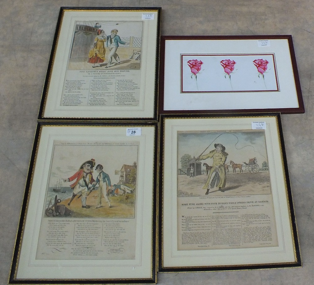 Lot 28 - Three 19th Century coloured illustrated Song prints,