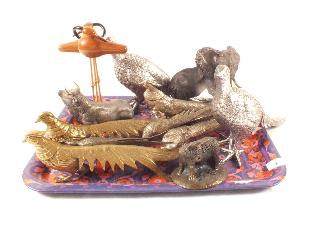 Lot 3 - Bird and animal ornaments including three pairs of brass and silver plated pheasants,