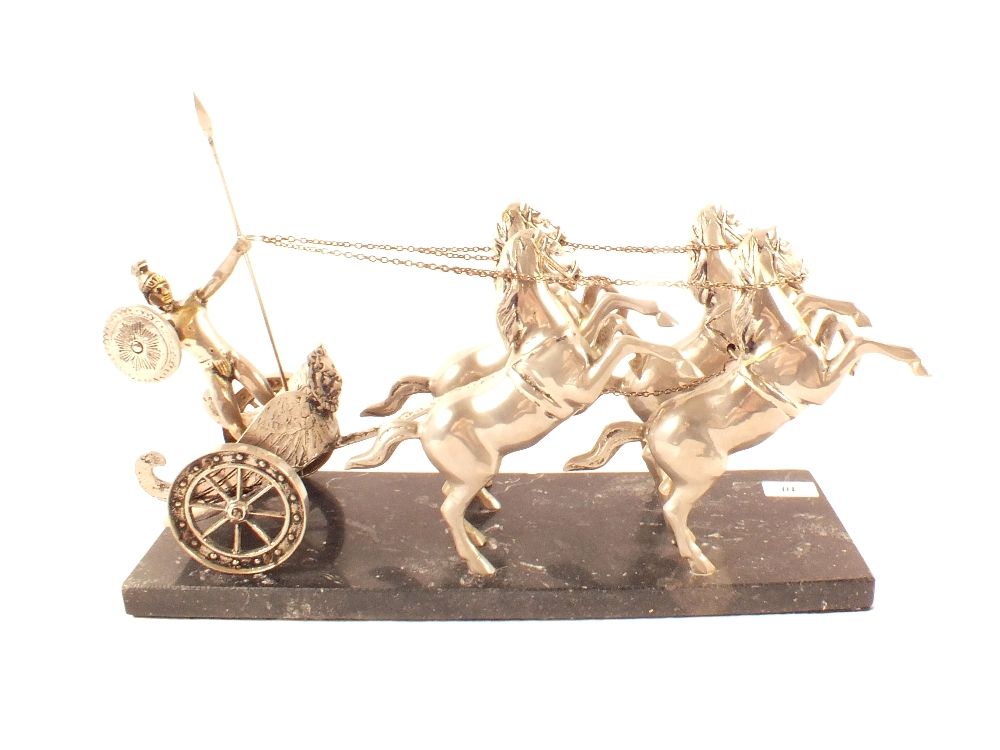 Lot 10 - A white metal Roman Chariot with four horses on black marble base