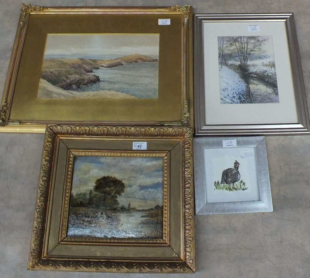 Lot 42 - An oil on panel of a river scene with figures plus three watercolours