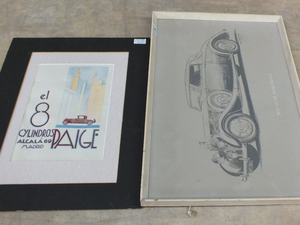 Lot 34 - A 1969 Madrid motor show print plus a 1935 Rolls Royce picture