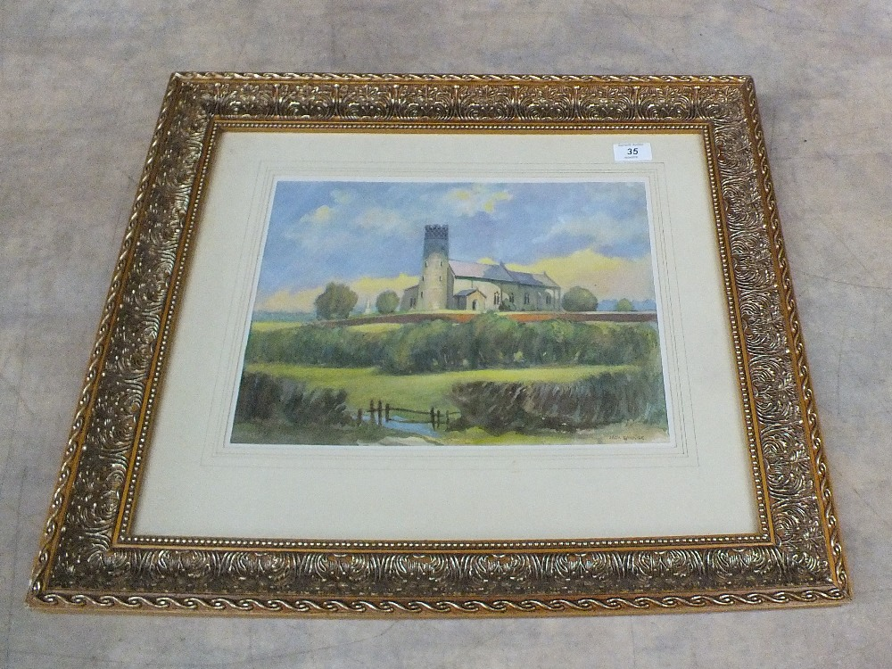 Lot 35 - Jack Savage watercolour of Haddiscoe Church,