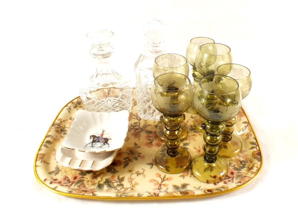 Lot 17 - Two cut glass decanters,