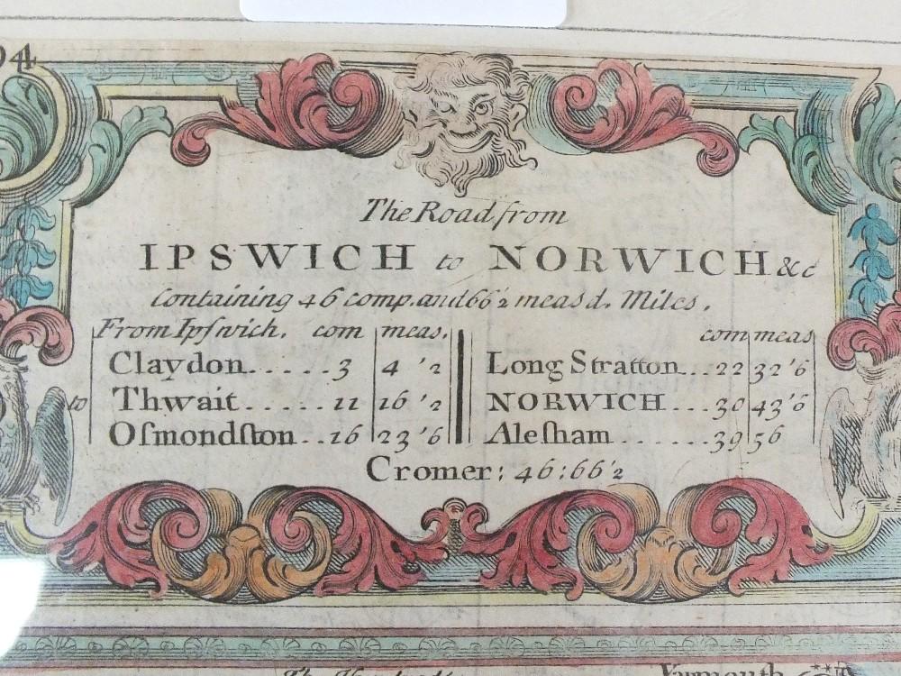 Lot 39 - An 18th Century Bowen road map, Ipswich to Norwich,