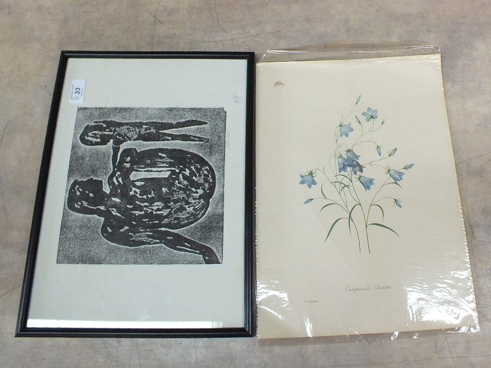 John Reay litho print of a mother and child plus two Redoute prints