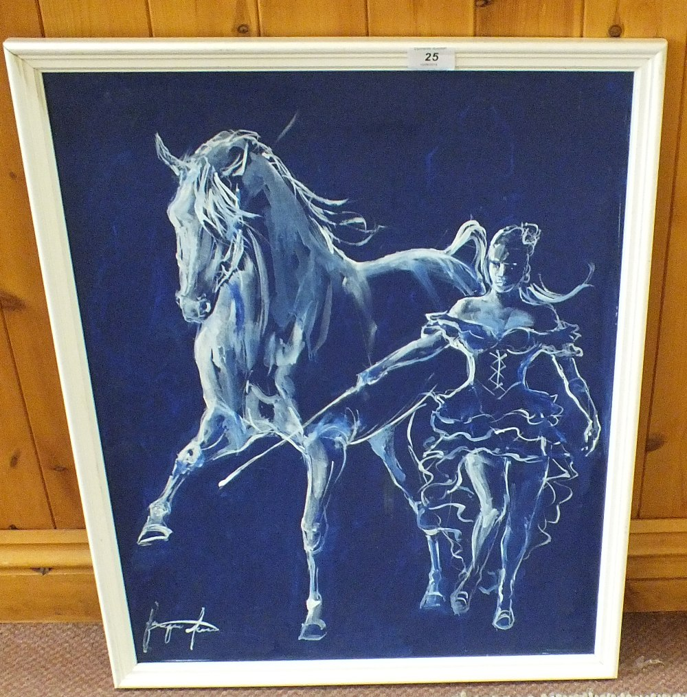 Lot 25 - An oil on board of a horse and lady by Jacquie Jones (Newmarket equine artist),