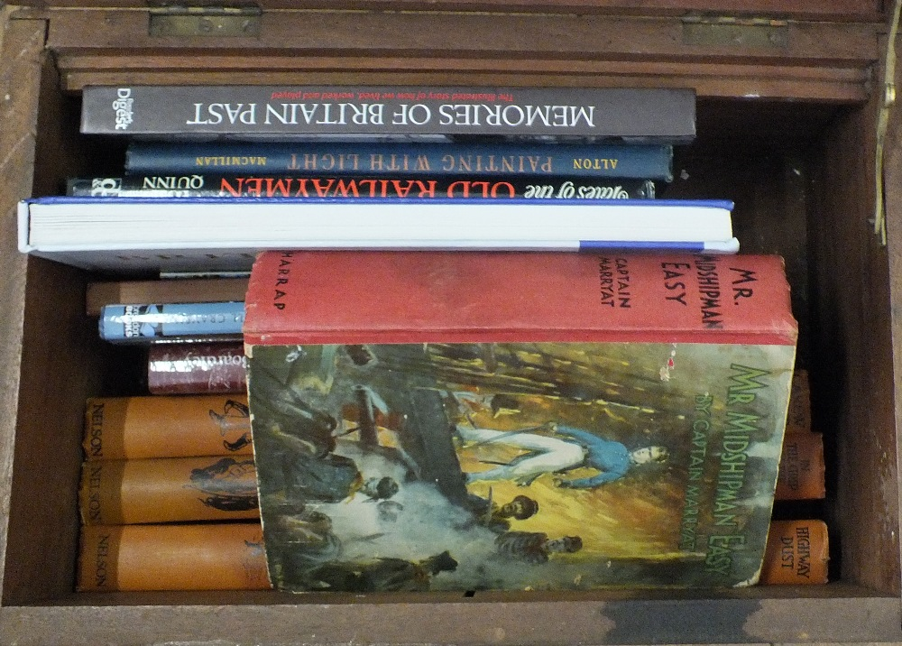 Lot 60 - A mahogany box containing topographical and other books plus a box of football books