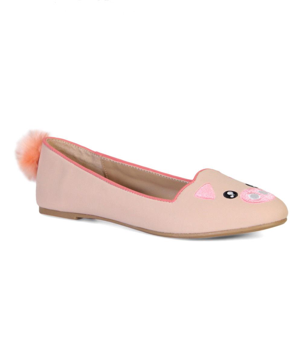 Lot 43 - Bamboo Pink Piggy Pom-Pom Flat (Uk Size:5/Us Size:7) (New With Box) [Ref: 46919674-F-002]