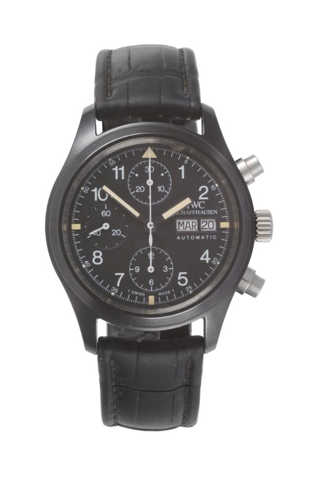 Lot 81 - A Rare 'Pilot's' Limited Edition Ceramic Automatic Day/Date Chronograph Wristwatch, signed
