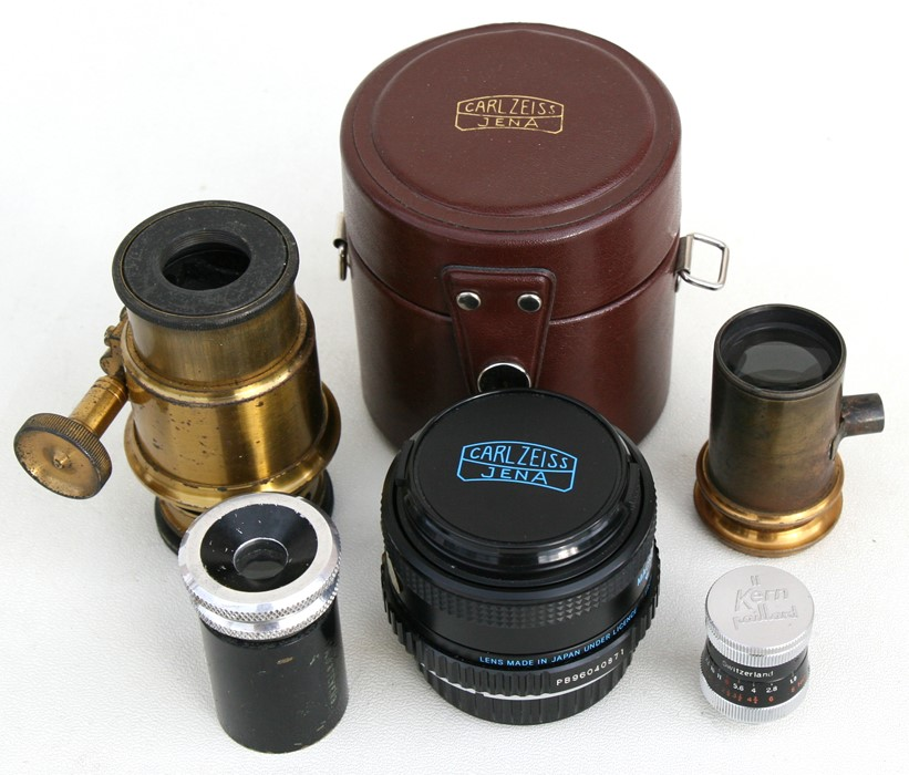 Lot 53 - A Carl Zeiss Jena macro camera lens; together with four other lenses.