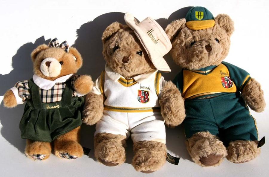 Lot 34 - Three Harrod's teddy bears.