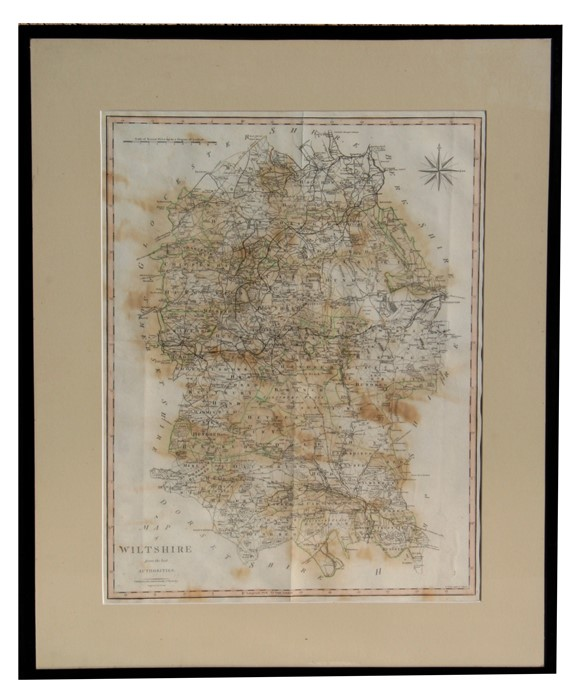 Lot 29 - J Cary - Map of Wiltshire - framed & glazed, 40 by 52cms (15.75 by 20.5ins).