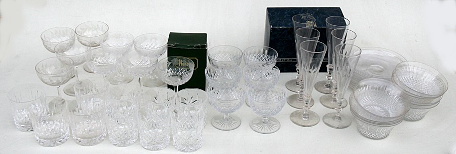 Lot 13 - A quantity of cut glass to include wine glasses, tumblers and sundae dishes.