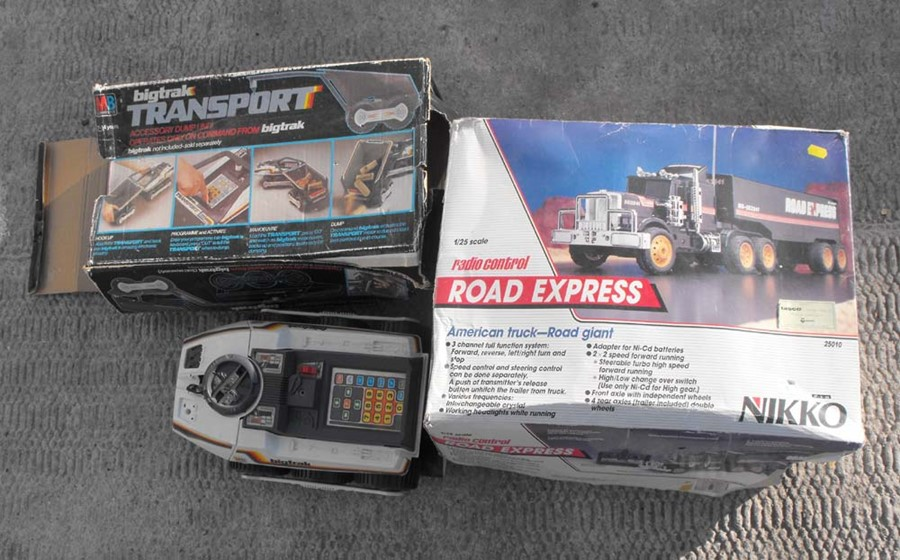 Lot 35 - An M B Electrics Bigtrak Transport; Nikko radio controlled American truck, a Magic Mike robot and