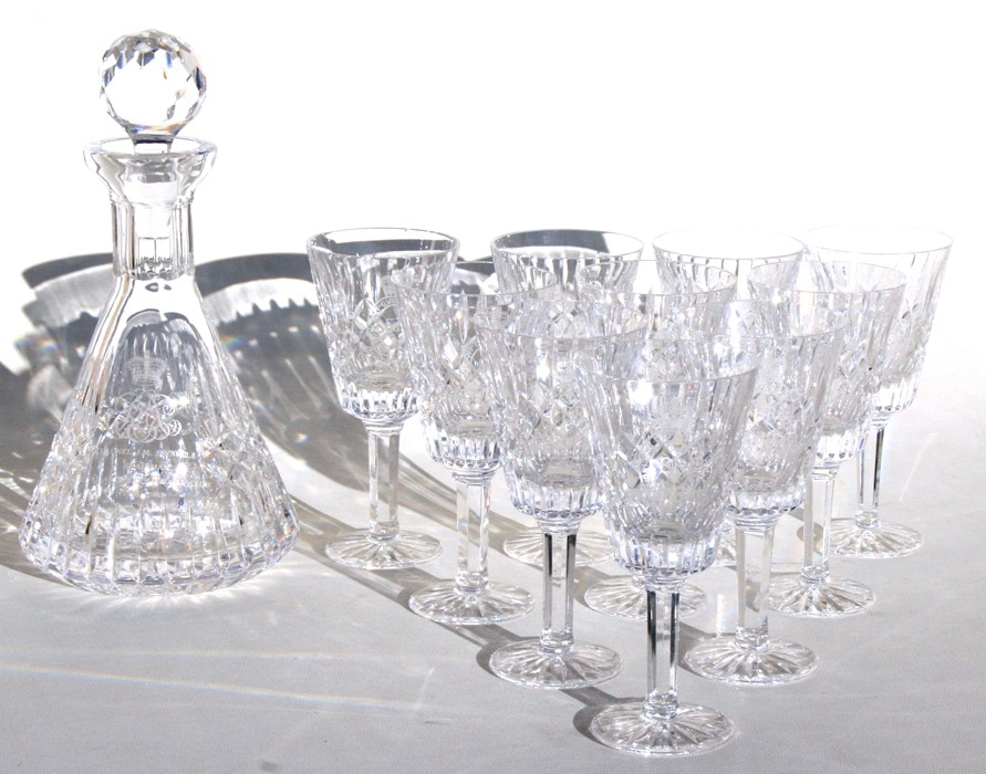 Lot 11 - A set of ten Royal Horse Artillery cut glass wine glasses; together with a matching decanter.