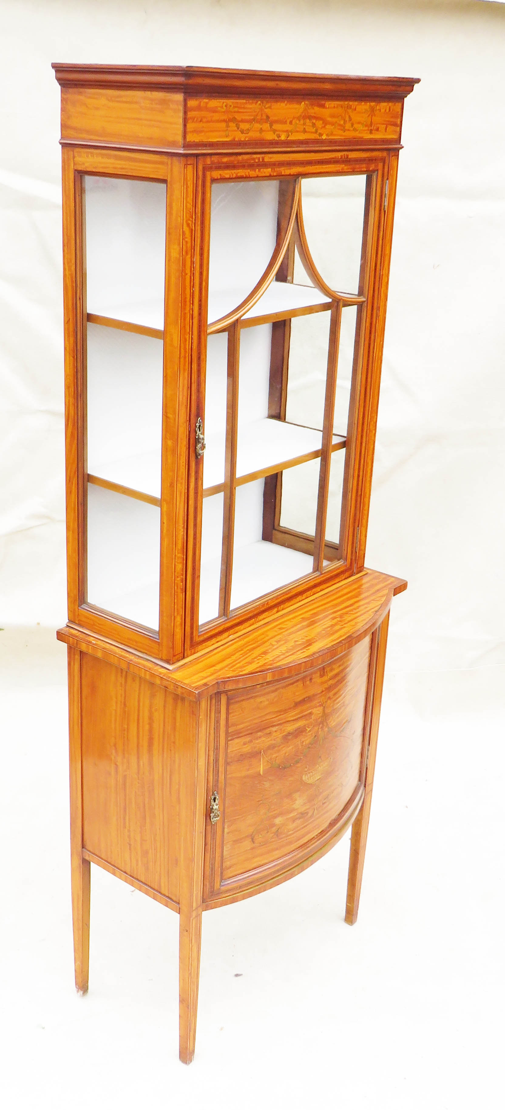 Satinwood China Display Cabinet, Late 19th Century - Image 7 of 10