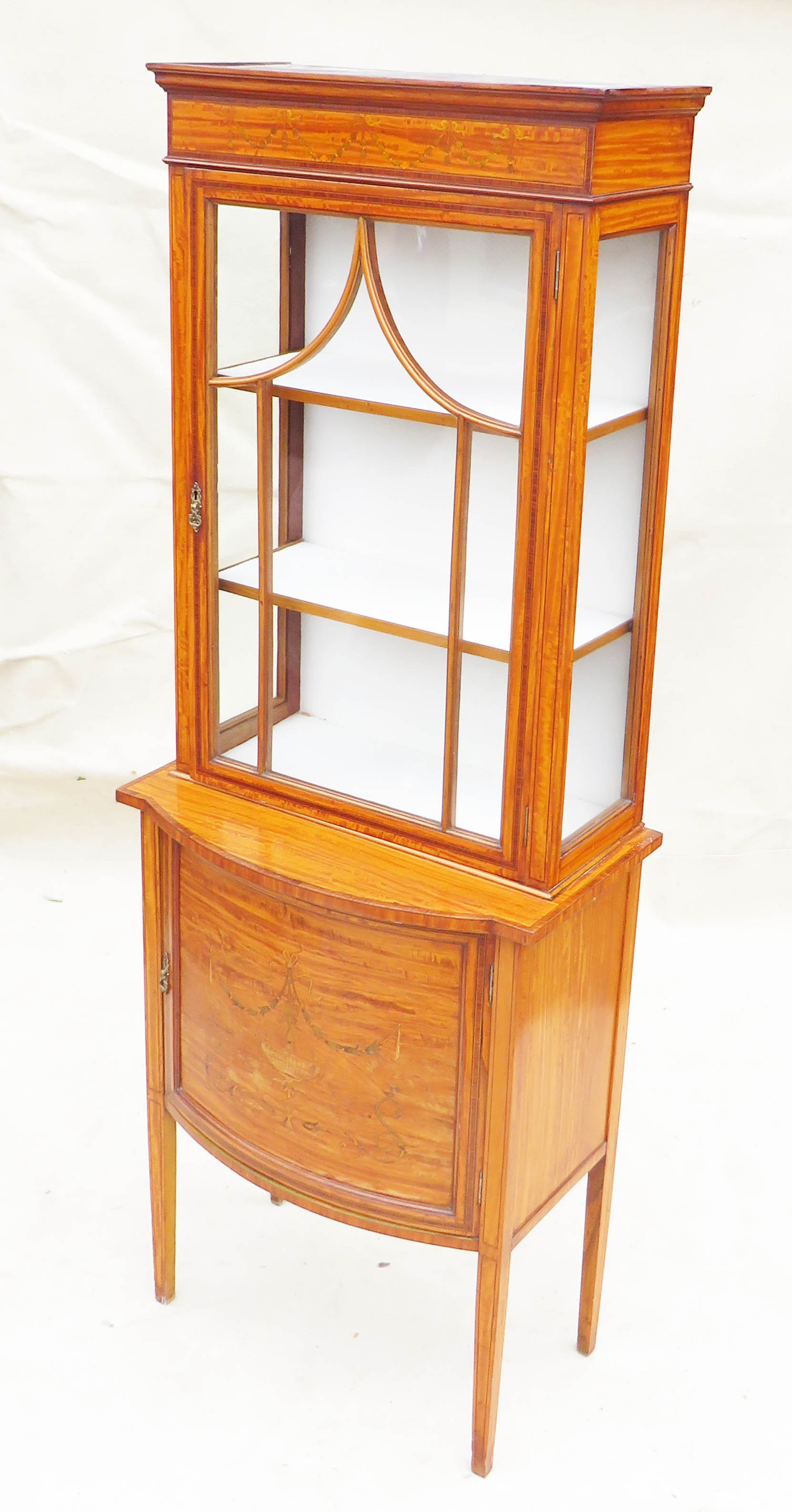 Satinwood China Display Cabinet, Late 19th Century